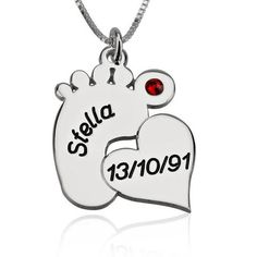 Personalized Sterling Silver Engraved Baby Feet Necklace with Heart