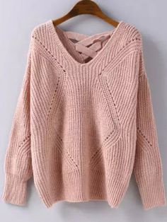 Strickpullover mit Geometrie Muster-rosa