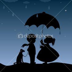 Kids with an umbrella by rodicabruma - Grafika wektorowa