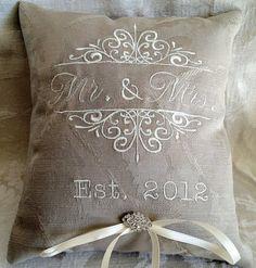 Monogrammed Ring Bearer Pillow by ElegantThreadsEtc on Etsy, $30.00