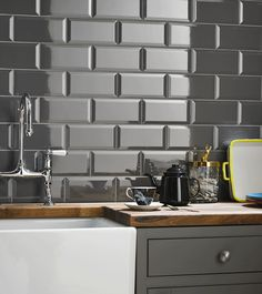 Grey brick effect kitchen wall tile