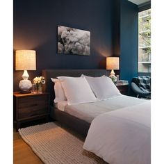 bedrooms - West Elm Terracotta Lamp peacock blue teal walls charcoal... ❤ liked on Polyvore featuring bedroom and house