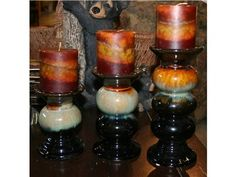 Set of 3 Ceramic Candle Holders