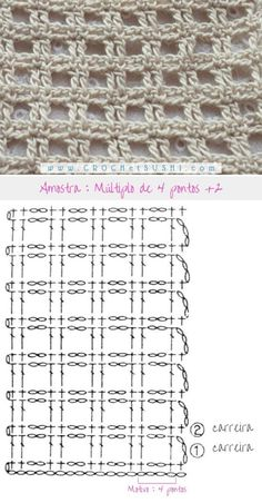 - Tricot Pontos - Best Picture For fabric crafts fat quarters For Your Taste You are looking for something, and it - Filet Crochet Charts, Crochet Motifs, Crochet Diagram, Crochet Stitches Patterns, Crochet Squares, Crochet Shawl, Crochet Designs, Crochet Doilies, Knitting Patterns