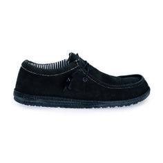 Wally Slip on or Lace up  Hey Dude Shoes' Wally style is a lace up delivered to you with an elastic lace system to maintain Dude Shoes slip on character but also supplied with traditional laces for your choice.