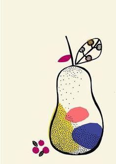 Pear by Rachael Davies Art And Illustration, Pattern Illustration, Food Illustrations, Fruit Art, Art Plastique, Graphic, Art Inspo, Art Lessons, Print Patterns