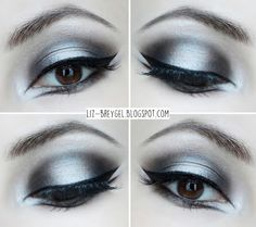 Elevate your eye makeup with an edgier take on the winged eyeliner. Be inspired … Elevate your eye makeup with an edgier take on the winged eyeliner. Be inspired by this silver and black look for your next night out. Goth Eye Makeup, Black Eye Makeup, Eye Makeup Steps, Dark Makeup, Dark Angel Makeup, Eye Makeup Glitter, Black And White Makeup, Beauty Makeup, Black White
