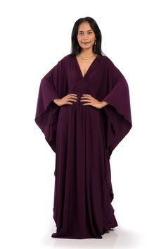 cfd368c42b3 Dark Purple Kaftan Dress - Kimono Butterfly Dress by Nuichan Maxi Kaftan