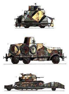 1-Tatra T18, ejército checoslovaco de 1938 2-Tipo 91 S0-MO coche convertible Blindado, Ejército japonés Kwantung, China, 1935 3-TK5 tankette en vagón de ferrocarril, del Ejército Polaco de 1939.