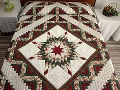 Lone Star Log Cabin Quilt -- superb carefully made Amish Quilts from Lancaster (hs2202)