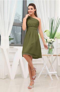 Olive Green Modest A-line Asymmetric Neckline Zipper Plainness Bridesmaid Dresses - iFitDress.com