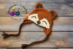 Crochet boy Fox hat photography prop infant boy hat photo prop crochet baby hat-Made to order