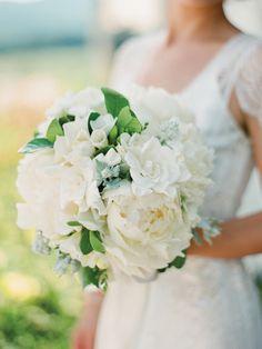 White gardenia and peony #bouquet - via Southern Weddings.
