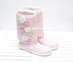 Crochet Boots Shoes Lilac Spring Boots Purple Colors by JoyForToes #SHP