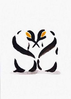 Two penguins 1521A (2016) Watercolours by Becca Alaway | Artfinder