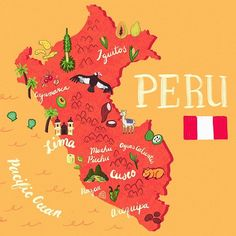 How to Spend Two Weeks in Peru for Backpackers Illustration Avion, Travel Illustration, Peru Travel, Travel Maps, Peru Flag, Nazca Lines, Star Wars Watch, Chicano Art, South America Travel