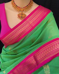 Parakeet Green Kora cotton saree with contrast pink zari border. Comes with contrast pink blouse piece. Kanjivaram Sarees Silk, Soft Silk Sarees, Cotton Saree, Cotton Silk, Saree Blouse Patterns, Saree Blouse Designs, Fancy Sarees, Party Wear Sarees, Designer Sarees Wedding