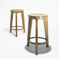 Pierre Jeanneret, Teak and Steel Stools from Punjab University in  Chandigarh, c1958.