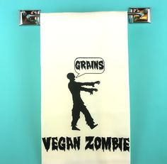 Zombie Kitchen Towel - Vegan/Vegetarian - Monster retro kitchen -Gifts for Guys- Indie Housewares. $10.00, via Etsy.