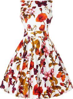 Bílé retro šaty s barevnými květy Lady V London Tea f7d0e712b2