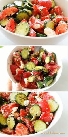 The best tomato cucumber salad This healthy salad is the perfect summer side dish This is a refreshing delicious and easy low carb vegetable side dish that you can make in minutes with simple ingredients Music Cucumber Recipes, Summer Salad Recipes, Salmon Recipes, Veggie Recipes, Vegetarian Recipes, Chicken Recipes, Cooking Recipes, Healthy Recipes, Healthy Salads