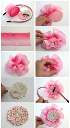 This Pin was discovered by Can Making Hair Bows, Diy Hair Bows, Diy Bow, Diy Ribbon, Ribbon Work, Cloth Flowers, Fabric Flowers, Fabric Flower Tutorial, Bow Pattern