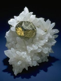Photographic Print: MineralCalendar: Pyrite on Quartz Crystals. Huanzala, Peru : 24x18in