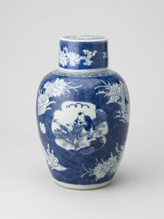 Jar and cover   China, c.1640-45 Porcelain painted in underglaze blue, H. 31.5 Hampton Court Palace, RCIN 1314