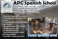 * Discover Granada, Nicaragua * Learn Spanish with your own teacher! * A weekly plan with home-stay Host family * Spanish Classes for all levels * One person per class * Nicaraguan teacher * Small personalized classes tutoring available * Free WiFi, coffee and more  Let´s learn Spanish in Granada, Nicaragua!!! Dale Pues!!!  http://apcspanishschool.com