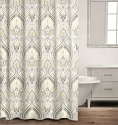 Caro Home 100% Cotton Shower Curtain Floral Paisley Medallions Fabric  Shower Curtain Grey Yellow Gray