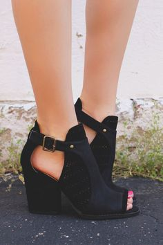 Black Perforated Detail Peep Toe Booties