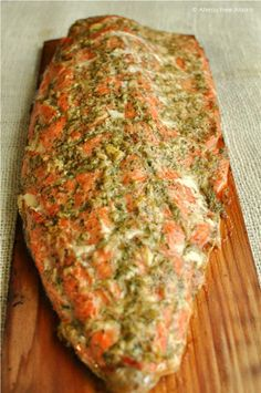 Paleo Lemony Cedar Planked Salmon with Garlic & Dill-Allergy Free Alaska Salmon Recipes, Fish Recipes, Seafood Recipes, Dinner Recipes, Dinner Dishes, Dinner Ideas, Fish Dishes, Seafood Dishes, Fish And Seafood