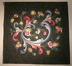 Modern quilt was made to represent Rosemaling. Sewing Appliques, Applique Patterns, Applique Quilts, Applique Designs, Quilting Designs, Quilt Patterns, Scandinavian Embroidery, Norwegian Rosemaling, Flower Quilts