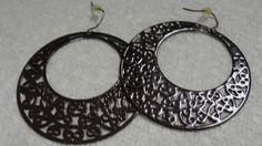 Brown Flat Filigree Metal Dangle PIerced Earrings by FishersofWomen on Etsy