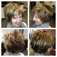 Short hair cut with chunky highlights Love this style but would wear it not as messy in the back but love love the front and sides.