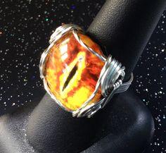 Dafydd - A Dragon Eye Ring Wire Wrapped Ring Wire Ring Wire Wrap Ring Evil Eye JewelryWire Wrapped Jewelry Evil Eye Ring Pharaoh Ring