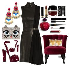 """""""The Kitty Clutch At The Party"""" by pulseofthematter ❤ liked on Polyvore featuring Elizabeth Cole, Thierry Mugler, Karl Lagerfeld, Giuseppe Zanotti, Gucci, Marc Jacobs, Christian Louboutin, Chanel and Jonathan Adler"""