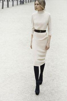 **Beige dress ~ Black belt/tights/shoes
