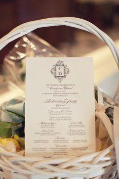 Elegant wedding program.