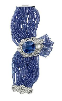 One of a kind - tanzanite and diamaond bracelet with hidden watch - Cartier