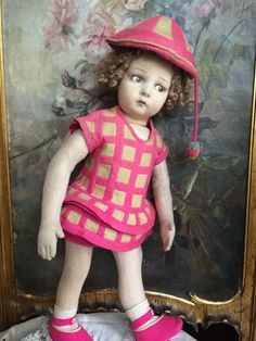 Very nice clean lenci doll from 1920 era. Original dress replaced socks. She just have a moth hole in hat ( see pics).  Thanks for visiting my shop!
