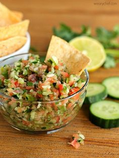 Cucumber Salsa - Just right with chips or fish tacos! - wearychef.com