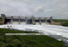 The foam is scratched like a pile heap in the water released from the Kelavarapalli dam.  Picture: Marimuthu.
