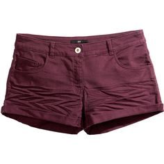 H&M Short twill shorts ($10) ❤ liked on Polyvore featuring shorts, bottoms, h&m, short, dark red, h&m shorts, slim fit shorts, slim shorts, twill shorts and short shorts