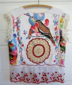 Vintage Linens & Fabric Scraps  Fruit Tablecloth & Antique Doily Artisan Vest COLLAGE Clothing ART  Altered & Upcycled my bonny