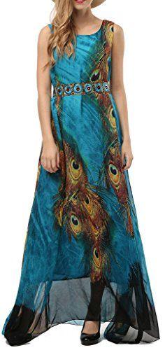 d8b3ae23903 Wantdo Womens Peacock Printed Paris Bohemian Summer Maxi Dress Plus size