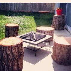Logs for outdoor seating