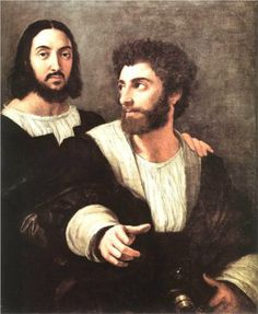 Raffaello Sanzio The Self-Portrait with a friend (also known as Double Portrait) is a painting by Italian High Renaissance painter Raphael. It dates to and is in the Louvre Museum of Paris, France. List Of Paintings, Italian Paintings, European Paintings, Raphael Paintings, Italian Renaissance, Renaissance Art, Art Ninja, Italian Art, Oeuvre D'art