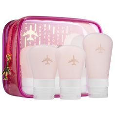 Sephora Wanderlust Travel Set | This set contains three silicone tubes in FAA-approved sizes. The tubes are easy to load and clean and the cute, clear travel case is gusseted for maximum capacity. It fits the tubes as well as additional necessities.