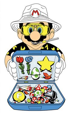 "Mario as ""Raoul Duke"" from FEAR & LOATHING IN LAS VEGAS. Artist unknown."